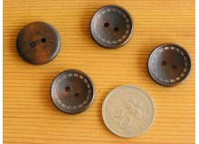 *B113(10/4)* Wooden button: 2-hole dotted line (6pcs)